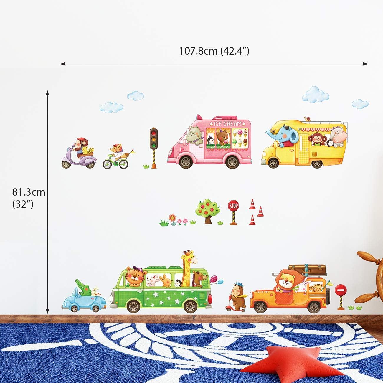 DECOWALL DAT-1406A1506B Train Animaux et Biplans Autocollants Muraux Mural Stickers Chambre Enfants B/éb/é Garderie Salon
