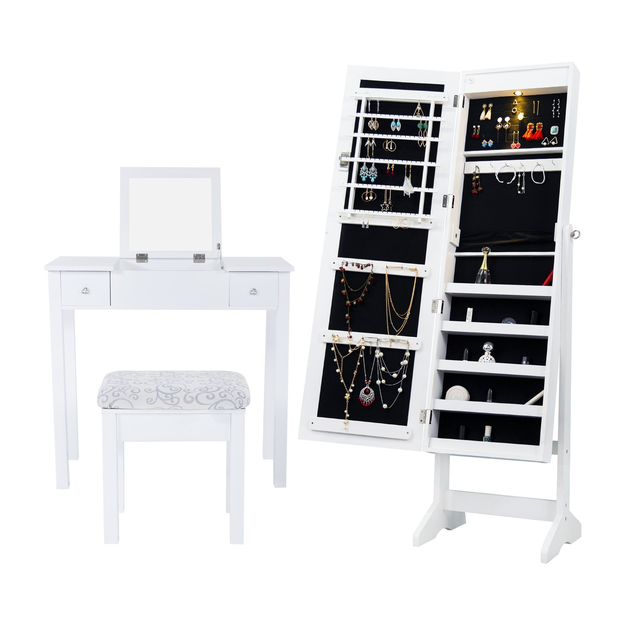 Cloud Mountain Mirrored Jewelry Armoire Jewelry Cabinet Free Standing with LED Light + Makeup Dressing Vanity Table Stool Set, White