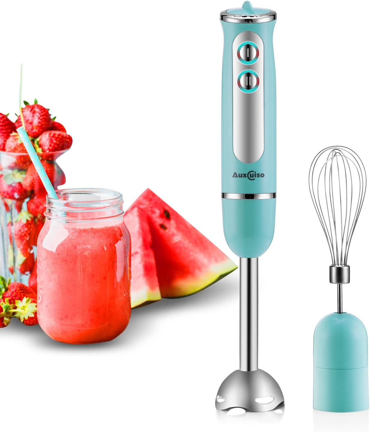Auxcuiso Stick Immersion Hand Blender Powerful 500 Watts 8 Speeds 2 in 1 Whisk Attachment Included|Emersion Blender|Mixer