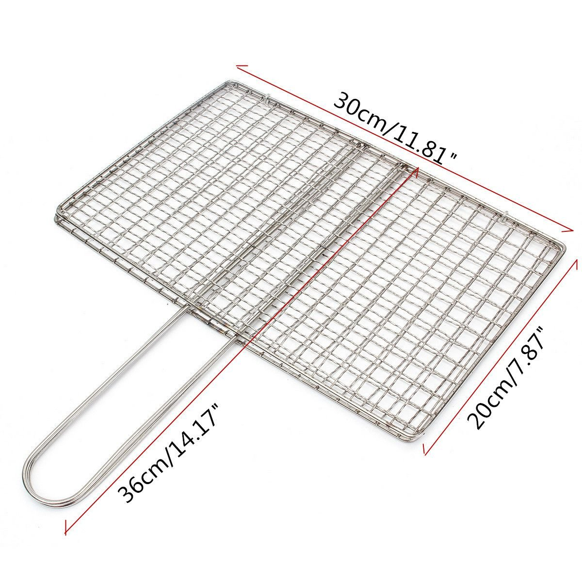 BBQ Hot Dog Sausage Grilling Basket Clip Steel Wood Handle Grill Mesh Wire Clamp Yard, Garden & Outdoor Living