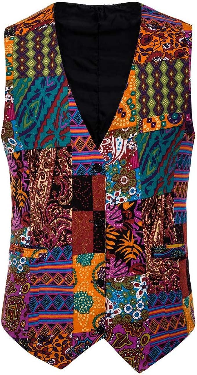 Yumso Homme Gilets de Costume, Multicolore Slim Fit