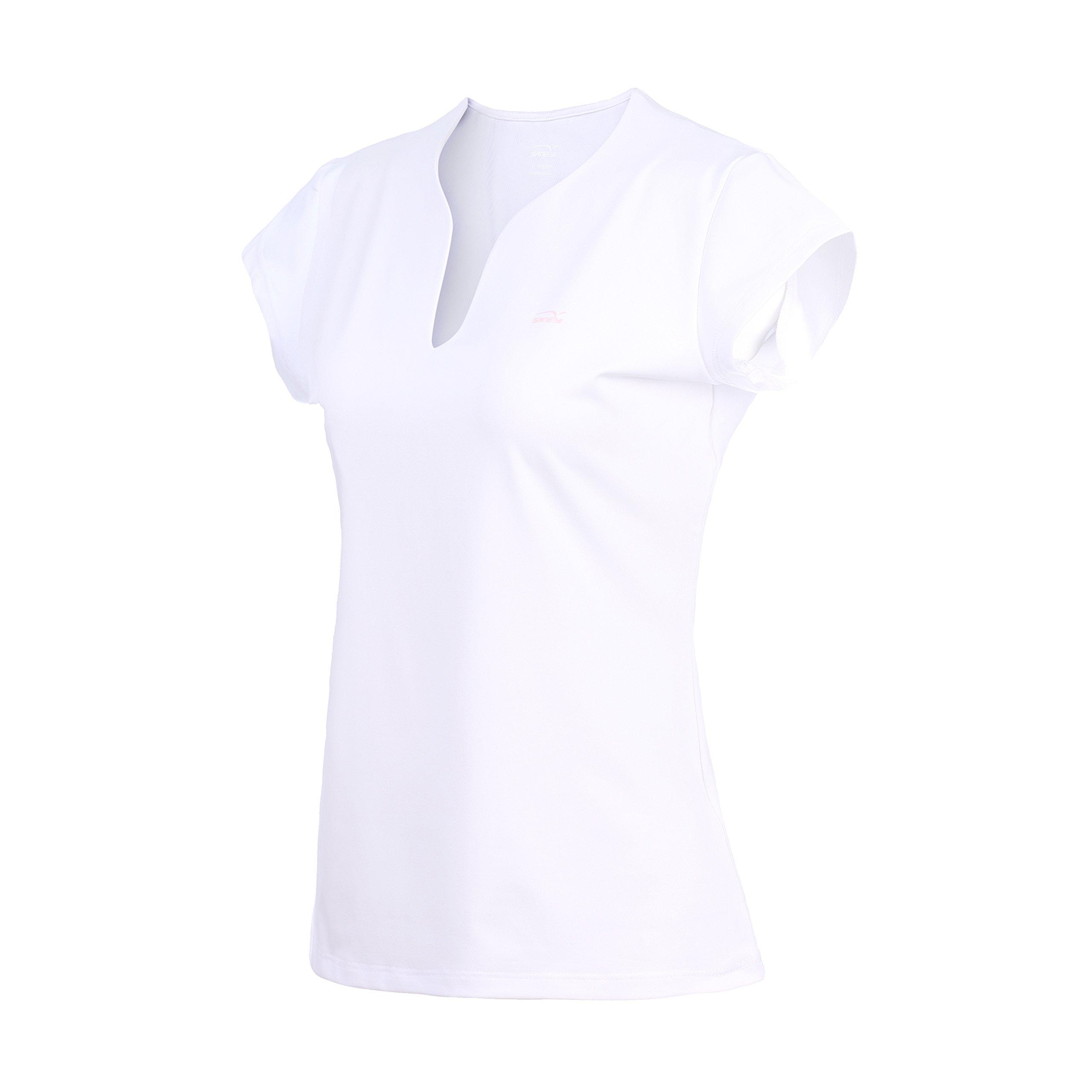 32e-SANERYI Women's Quick-Drying V-Neck Short Sleeve Tees, Badminton Shirts (t42,M,White)