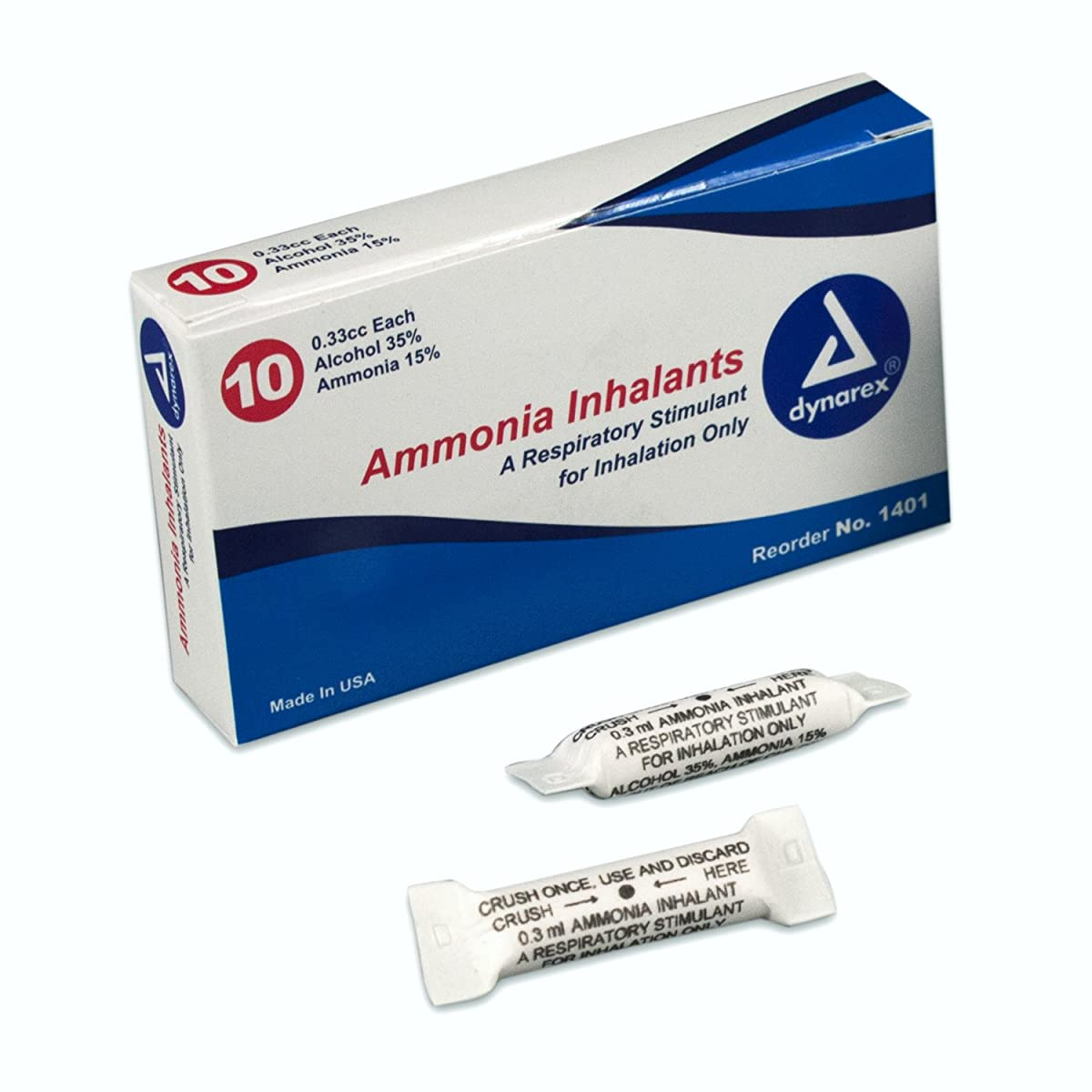 Dynarex Ammonia Inhalants, 33 Cc, 10 Ampules