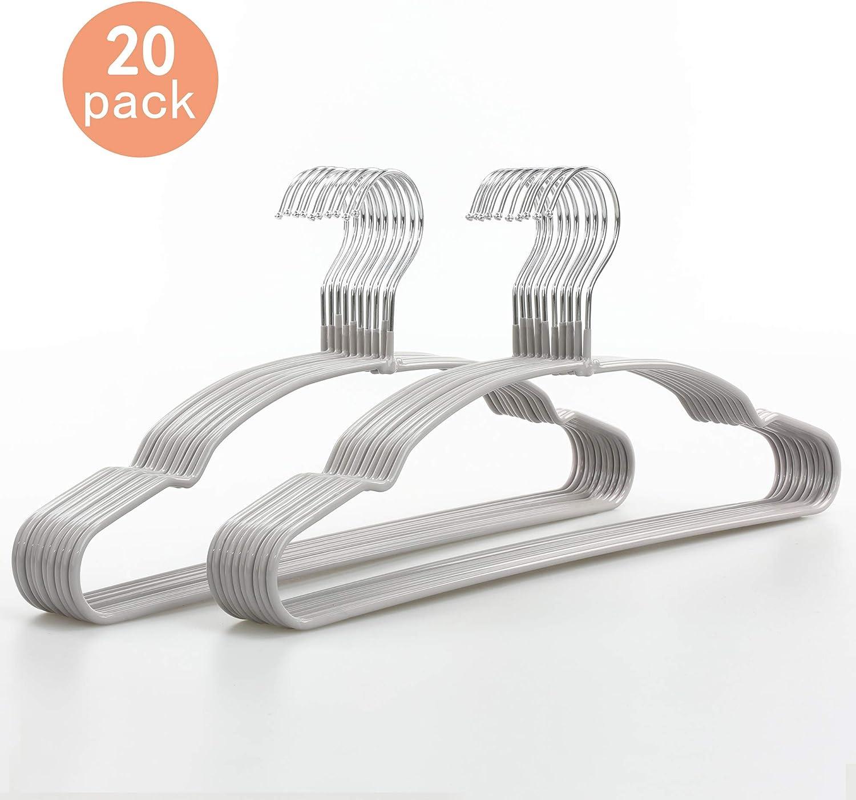 TOPIA HANGER Non-Slip Hanger, Adult Space Saving Metal & Rubber Coating Clothes Hangers, Laundry Metal Hangers, Grey Suit Hangers 20 Pack, CT12G