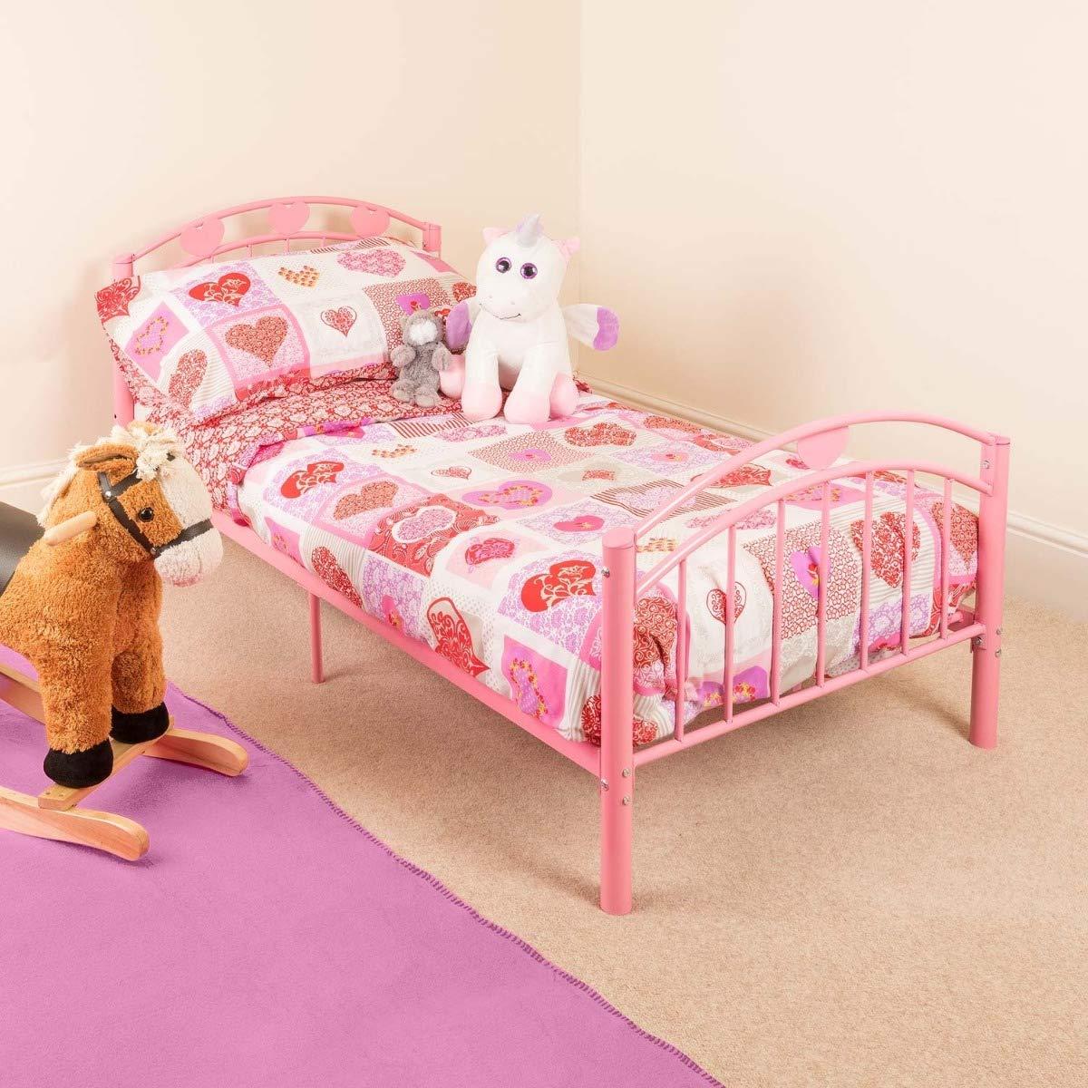 Miraculous Pink Toddler Metal Bed Frame Kids Bedroom Furniture Childrens Bedframe Hearts Home Interior And Landscaping Ymoonbapapsignezvosmurscom