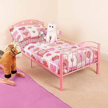 Awe Inspiring Pink Toddler Metal Bed Frame Kids Bedroom Furniture Childrens Bedframe Hearts Home Remodeling Inspirations Basidirectenergyitoicom