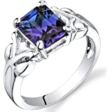 Simulated Alexandrite Ring Sterling Silver Rhodium Nickel Finish 2.75 Carats Sizes 5 to 9