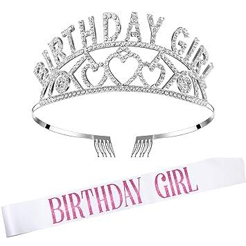 Corona de Brillo de Cumpleaños Diadema de Decoración de Cristal Diamantes de Imitación de Niñas con Banda de Niñas Bonito de Cumpleaños (Blanco)