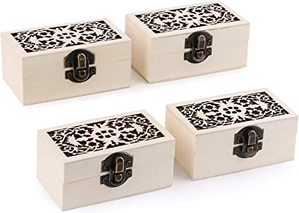 Plain Unfinished Wood Box Unpainted Small Rectangle Storage Box Case with Locking Clasp