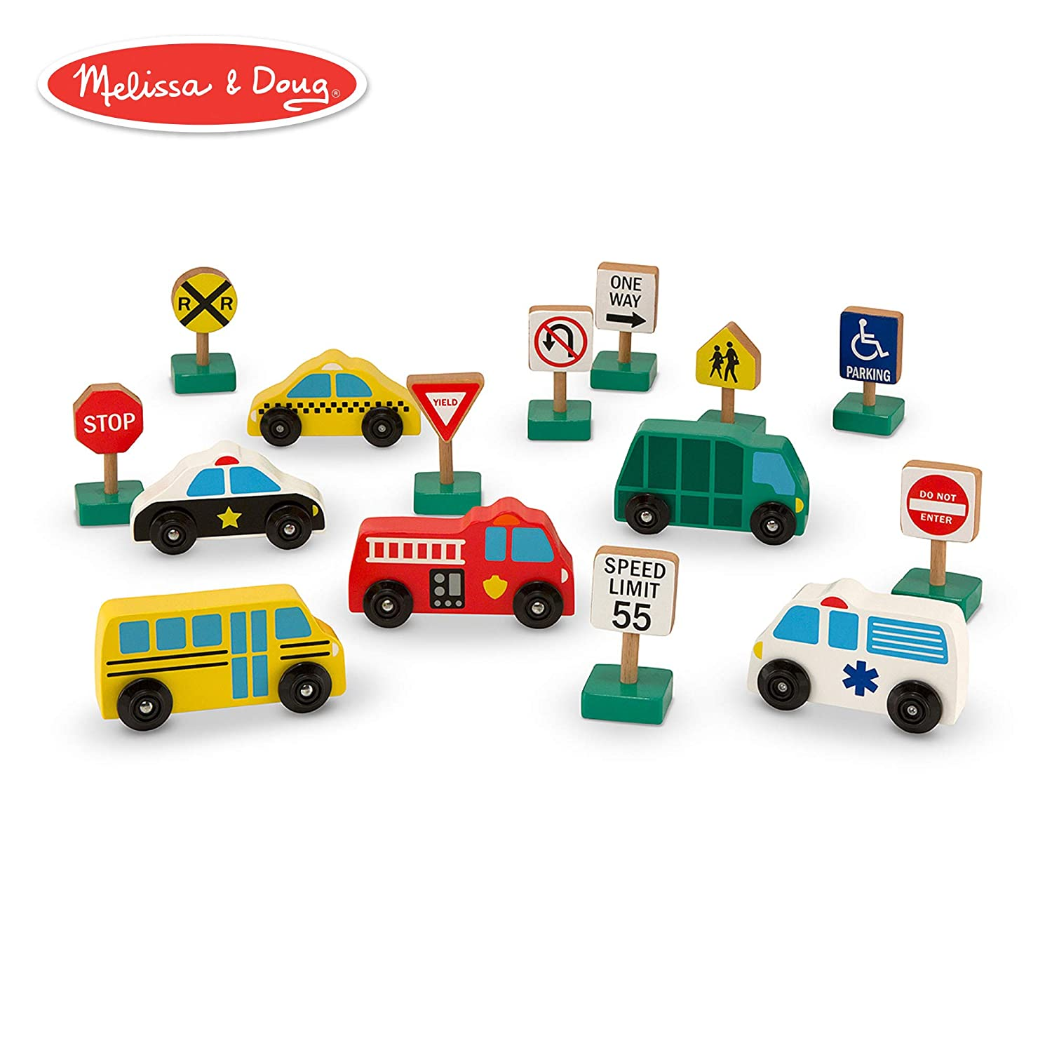 Amazon com melissa doug wooden vehicles and traffic signs with 6 cars and 9 signs melissa doug toys games