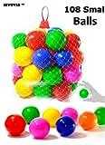 EEVOVEE 108 pcs Color Balls for Kids / Pool Balls Genuine Quality Set of 108 Balls - 4 cm Diameter Similar Size of PingPong Balls É