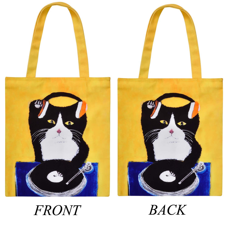 843cf332943c LucyGod Cute Cat Canvas Shoulder Bag Zipper Tote Casual Top Handle Bag for  School Shopping Book Travel-14.96''14.17