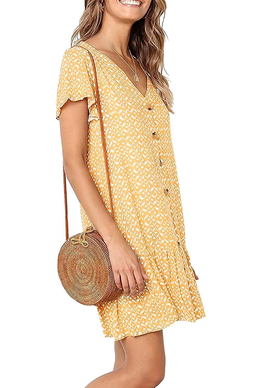 DT-charger Womens Boho Dress Wrap Swing Sundress Ruffle V-Neck A Line Beach Mini Skirt Button Down T-Shirt Dresses