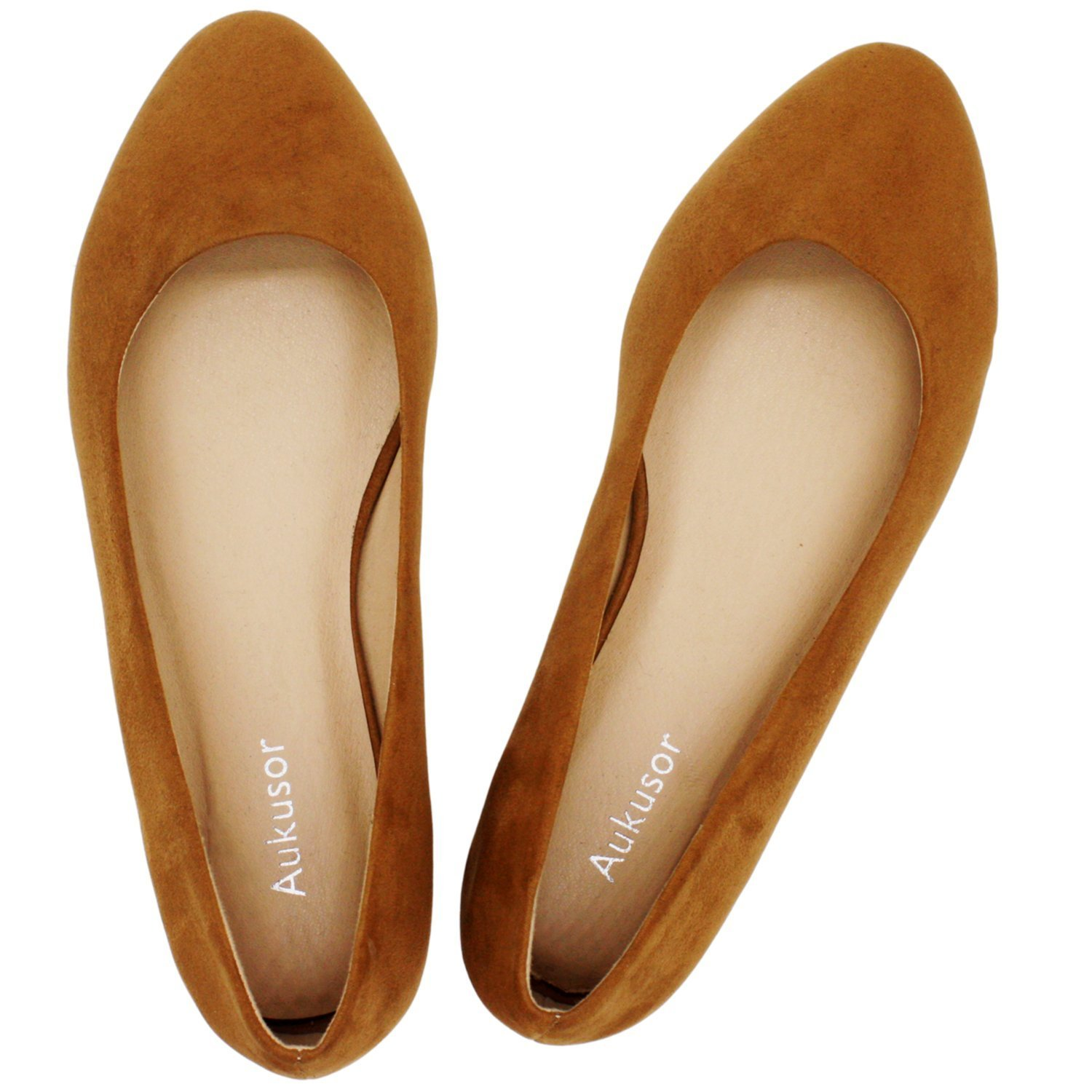 Aukusor Women's Wide Width Flat Shoes - Comfortable Classic Pointy Toe Slip On Ballet Flat(Brown 180504,10WW)