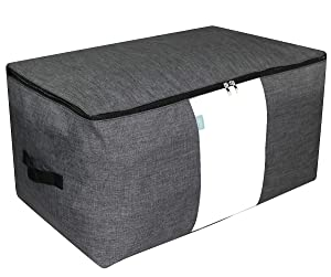 "iwill CREATE PRO Over-Size Special Material Storage Box for Wardrobe Organizer, Seasonal Clothes, Sweaters, Sheet Sets etc. 25.615.713.8"", Dark Gray"