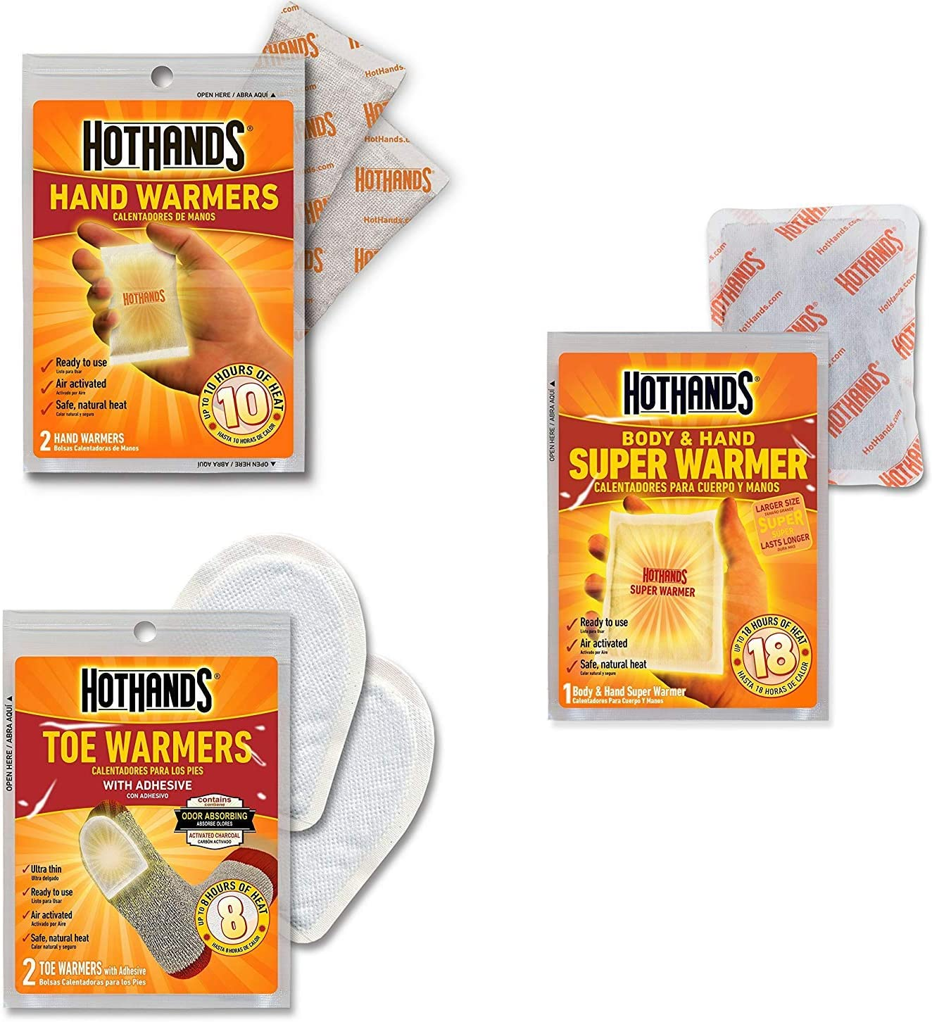 HotHands Body /& Hand Super Warmers Up Long Lasting Safe Natural Odorless Air