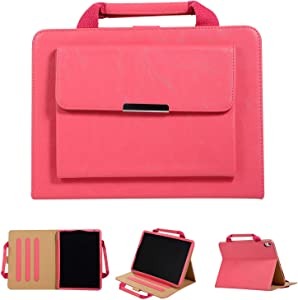 iPad 9.7 Inch Case with Hand Strap, Cookk Folio Stand Case Cover [Pencil Holder] [Auto Sleep Wake Feature] Pocket Handbag Smart Case for Apple iPad 9.7 Inch 2018 2017/Air/Air 2/Pro 9.7, Rose