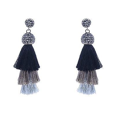 963c593b3465ee Amazon.com: Andshow Tassel Earrings Tiered Thread Tassel Dangle Earrings  Bohemian Statement Layered Tassel Drop Earrings Women Gifts (Black Ombre):  Jewelry