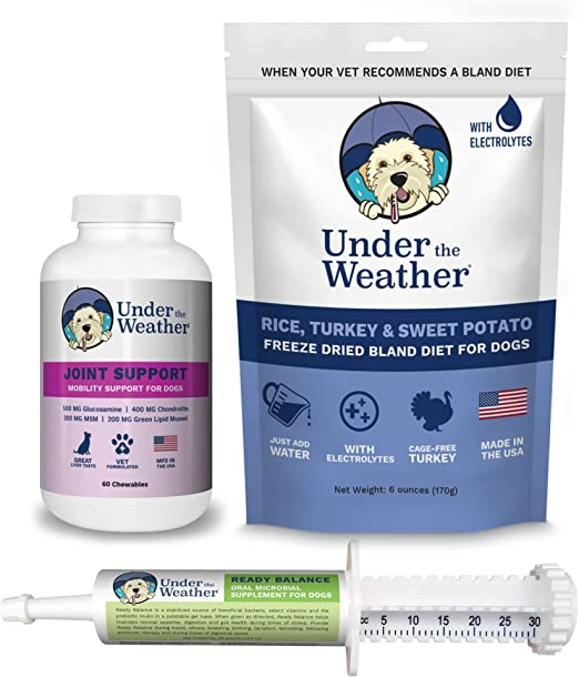 Under the Weather Mature Dog Bundle - 60 Hip & Joint Supplements, Bland Diet & Ready Balance Probiotic Gel to Support Digestion & Appetite of Your Mature Dog | Relieve Soreness and Joint Pain.