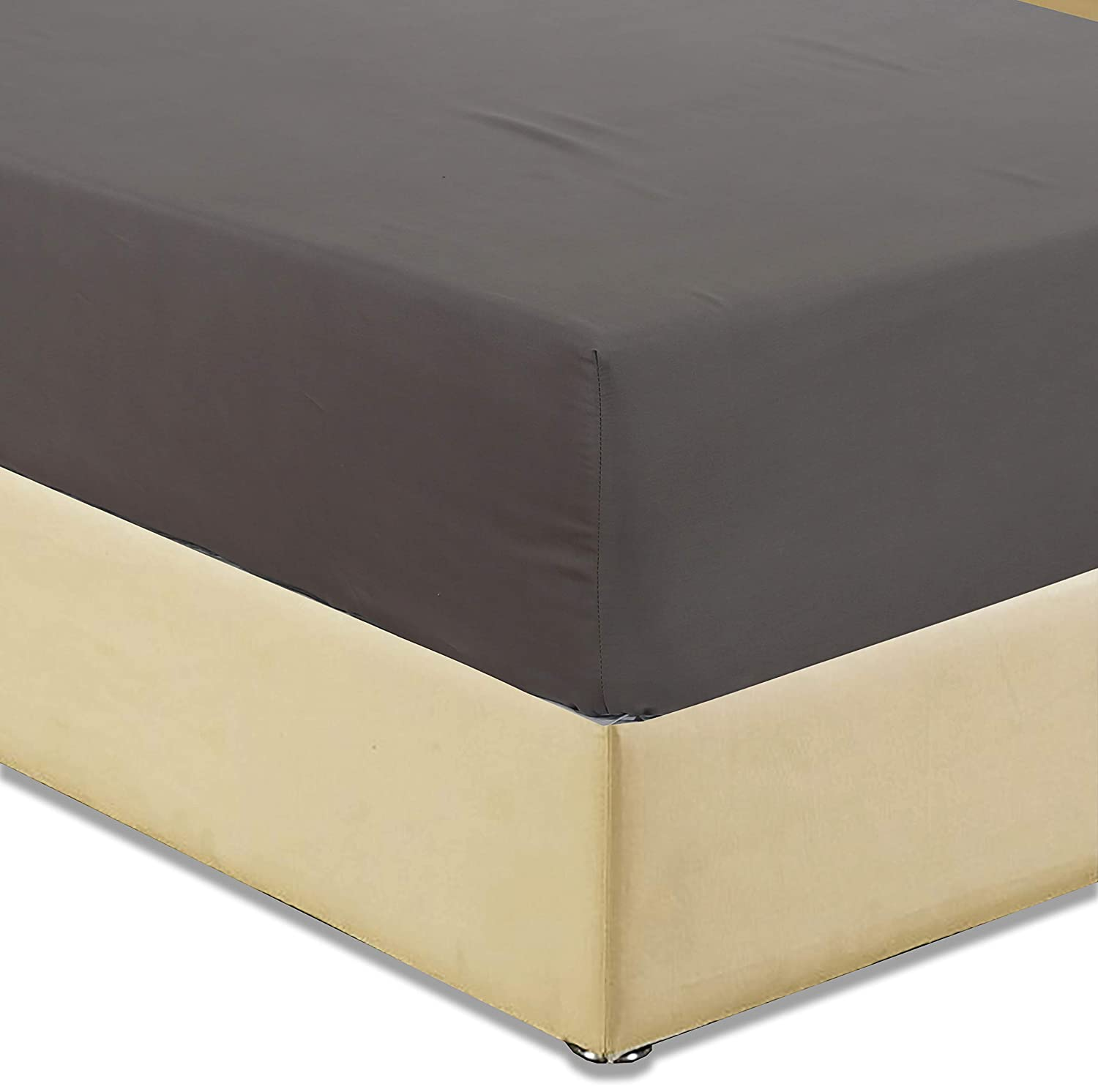 Fitted Sheet (Twin, Black) - brushed microfiber - super soft breathable and comfortable , deep pocket 14.5