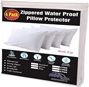 Niagara Sleep Solution 4 Pack Waterproof Pillow Protectors King 20x36 Inches Life Time Replacement Smooth Zipper Premium Encasement Covers Quiet Cases Set White (King 4 Pack)