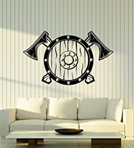 Vinyl Wall Decal Shield Axes Warriors Viking Weapons Man Cave Stickers Mural Large Decor (g1251) Black