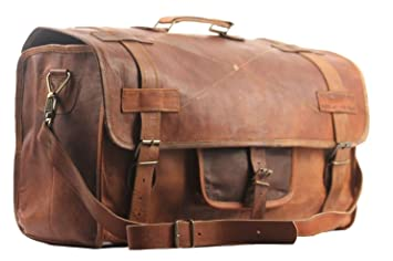 SBazar 20quot LEATHER DUFFEL VINTAGE TRAVEL BAG MENS HAND LUGGAGE WEEKEND HOLDALL GYM
