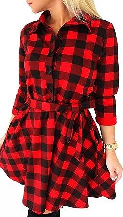 Womens Red Tartan Leopard Modern Check Dress Long Sleeve Swing Skater Party Top