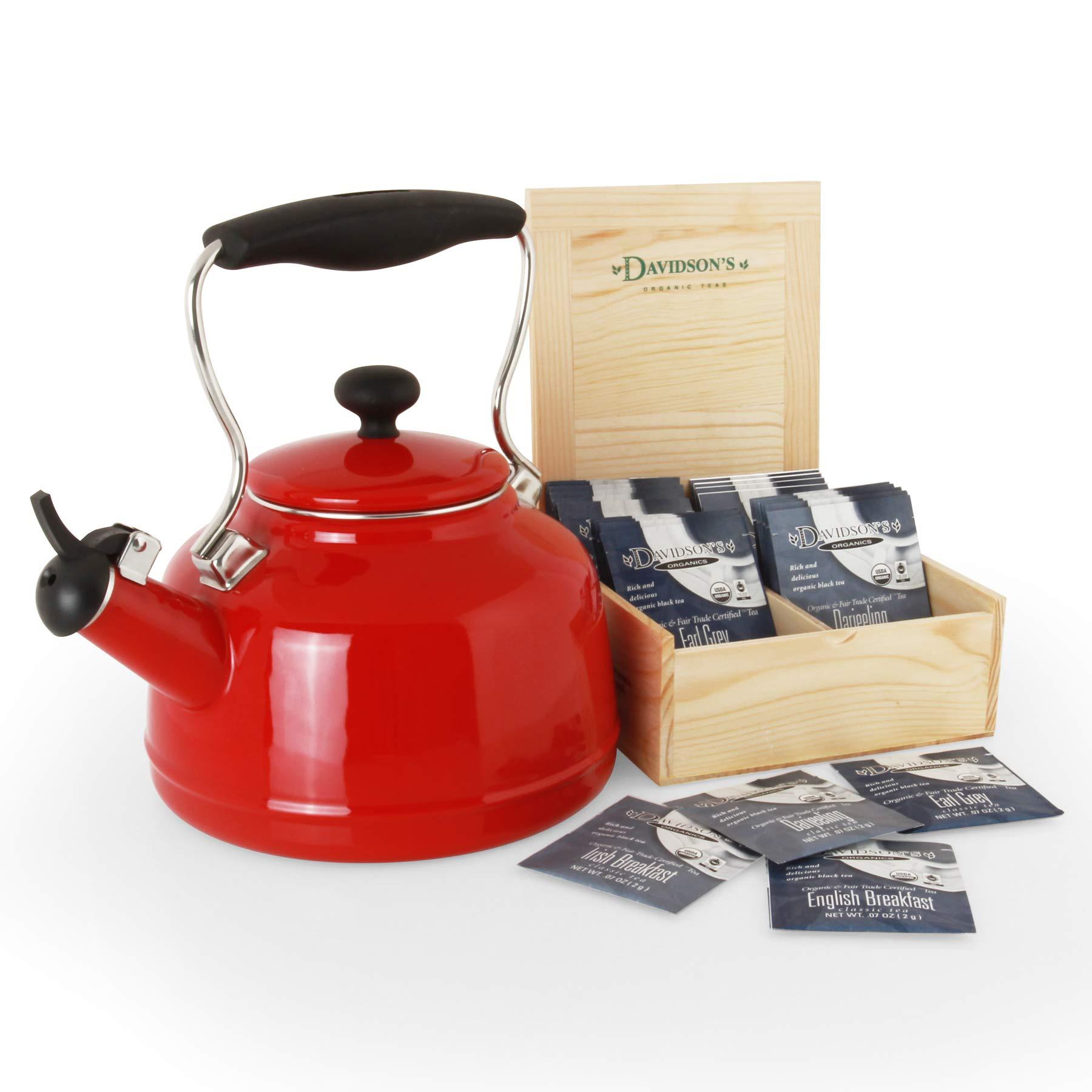 Chantal 37-Vint RE Vintage Teakettle with free Davidsons Tea Gift Box 1.7 Qt Red