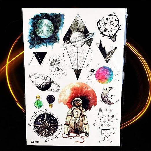 Yyoutop 25 Estilo Acuarela Astronauta Tatuaje Estrella Planetas ...