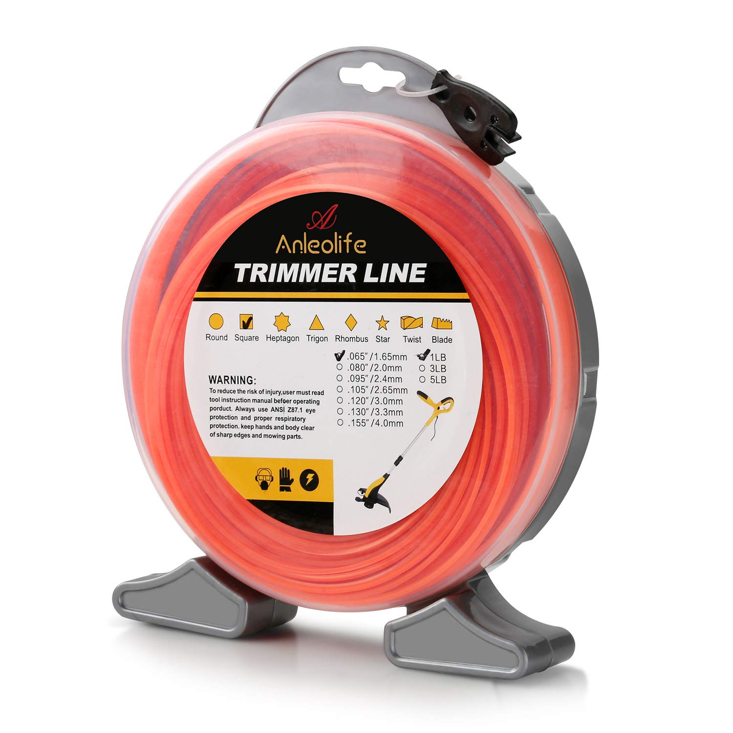 Anleolife 1-Pound Commercial Square .065-Inch-by-960-ft String Trimmer Line Donut,with Bonus Line Cutter, Orange by Anleolife