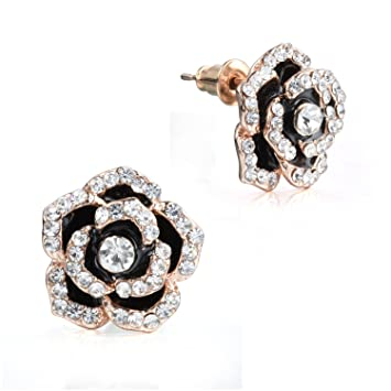 Amazon Com Morenitor Gold Plated Earrings Studs Cubic Zirconia
