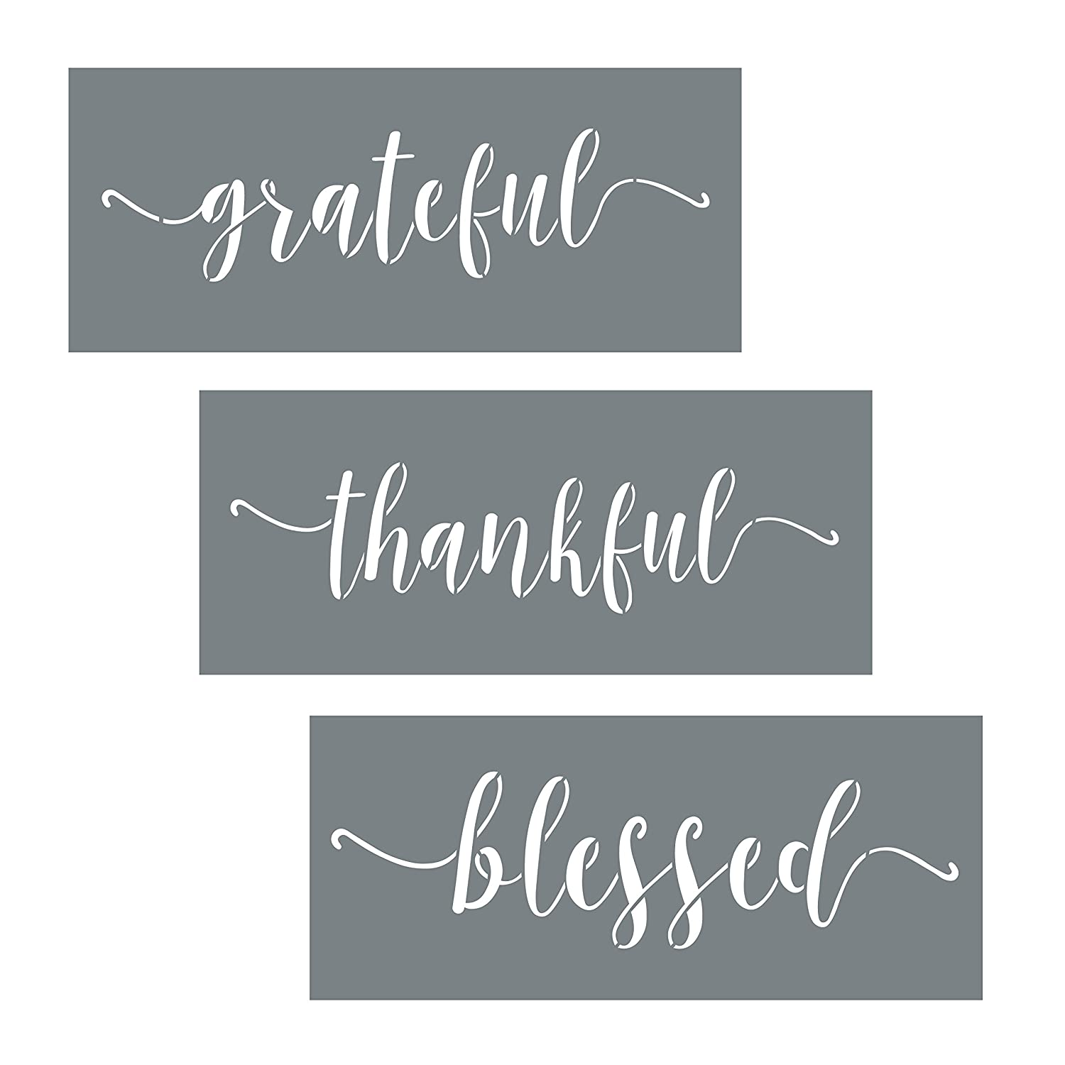 Grateful Thankful Blessed Stencil Set - 3 Reusable Sign Stencils For Painting on Wood + More - Use a Wall Stencil to Make Modern DIY Home Decor - Quote Stencils Made of 10 Mil Mylar - Wood Stencils