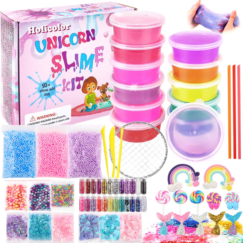 HOLICOLOR Slime Kit, Clear Slime for Girls and Boys, DIY Slime Kit Unicorn Slime Making Supplies with Slime Mermaid Charms, Glitter, Shells, Foam Balls and Other Accessories for Slime Party