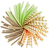 Heatigo Biologisch abbaubare trinkhalme, strohhalm ; 100 Wurzeln, 4 Farben Straws for trinkhalme , Party Supplies, Birthday, papierstrohhalme trinkhalme, 25 Wurzeln für Jede Farbe