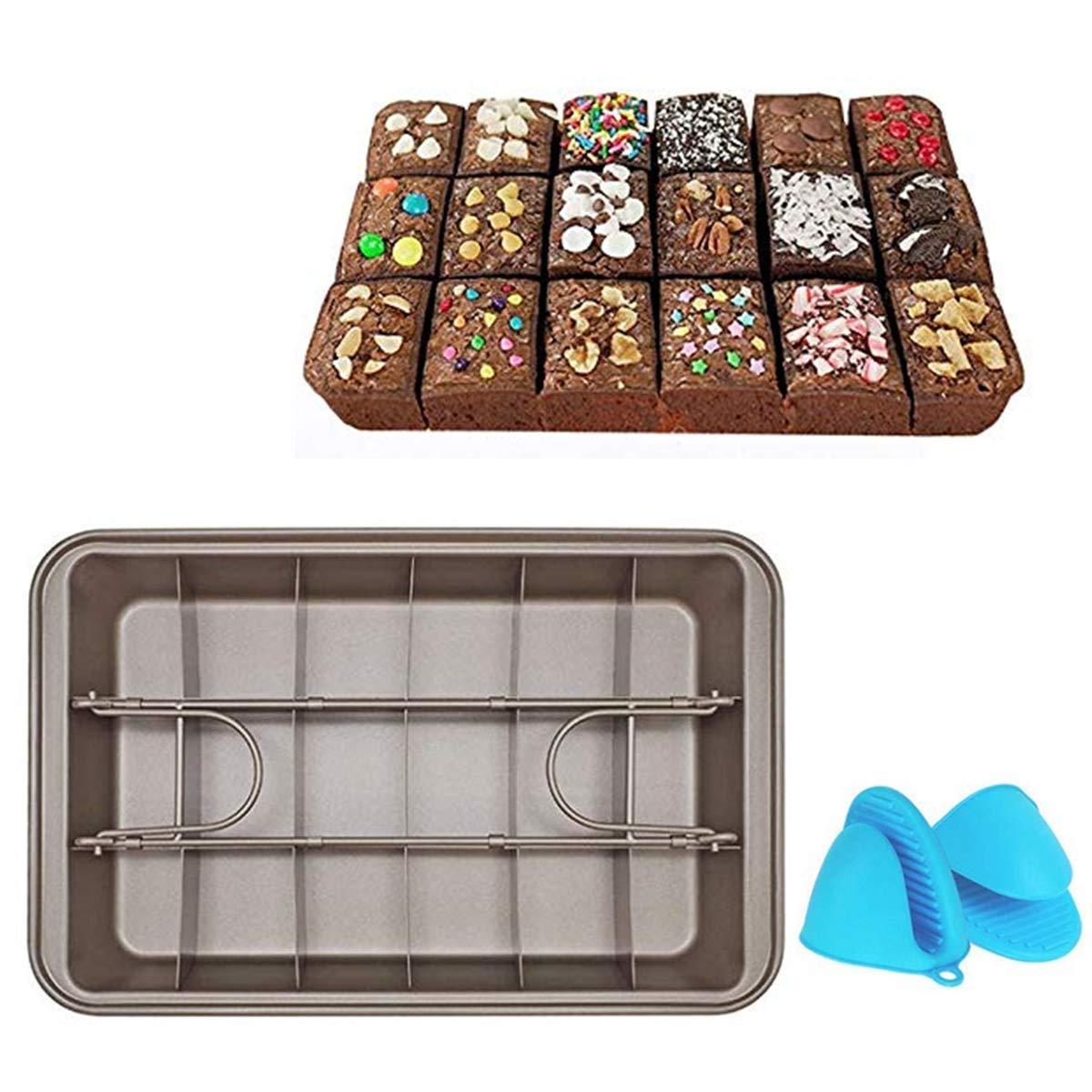 Fyuan Non-Stick Pan Tin, Heavy-Duty Divided Brownie Tray, Carbon Steel Bakeware for Oven Baking, 18-Cavity, 12 x 8inch, Comes with Silicone Gloves
