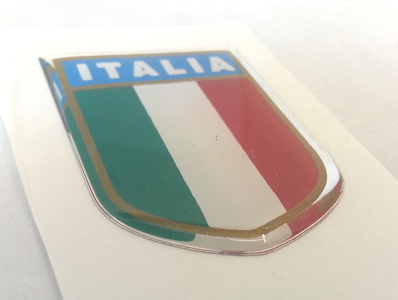 TARGHETTA scudetto ITALIA in PVC adesiva 3D LUNGA 33x26Xspessore 2 mm