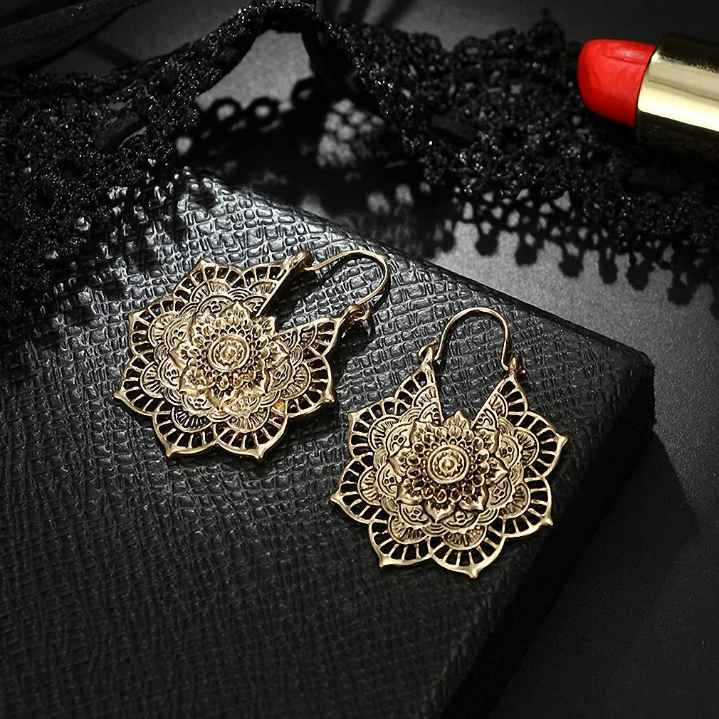 Womens Dangle Earrings Vintage Mandala Flower Drop Dangle Earring for Women Girl Tribal Hollow Floral Pendant Earrings Pendientes 5123