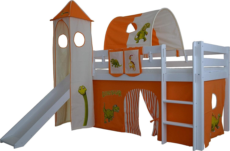 Orange//Beige, Dino XXL Discount Vorhang 3-teilig 100/% Baumwolle Stoffvorhang Bettvorhang inkl Klettband f/ür Hochbett Spielbett Etagenbett Stockbett Kinderbett