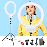 Neewer 18-inch White LED Ring Light with Light Stand Lighting Kit Dimmable 50W 3200-5600K with Soft Filter, Hot Shoe…