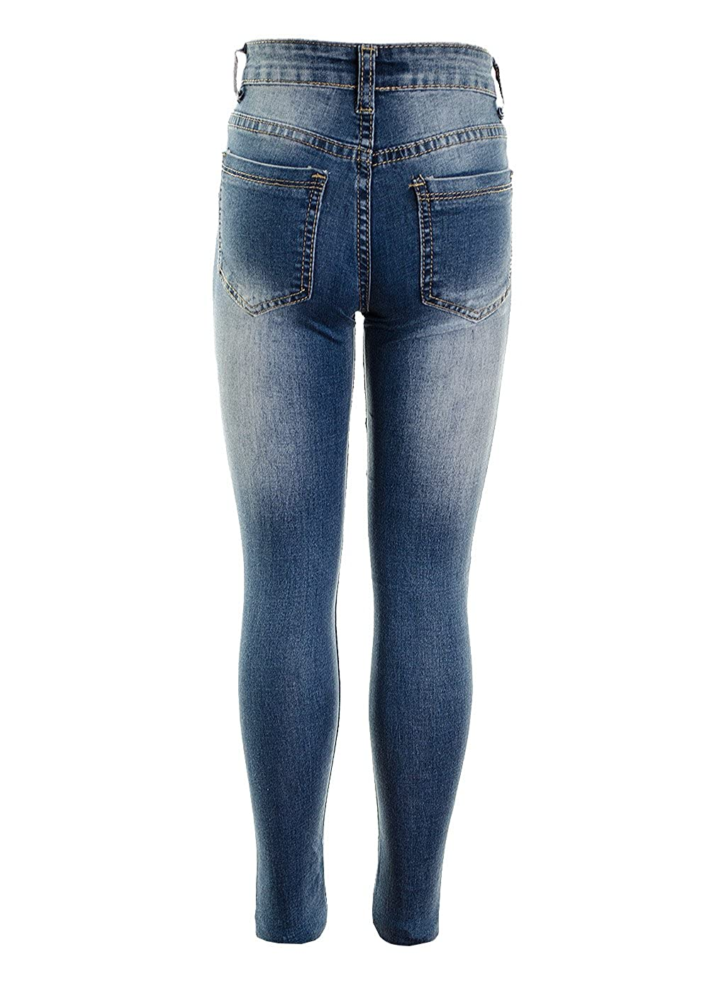 Fuchia boutique Girls Multi Ripped Distressed Frayed Jean Stretch Skinny Jeans Age 5-13