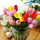 StillCool Artificial Flowers Tulip 12pc/set Pu Stunning Holland Mini Tulip Flower Real Touch Wedding Flower Artificial Latex Flowers Plants for Party Room Home Hotel Event Decoration (Multicolor)