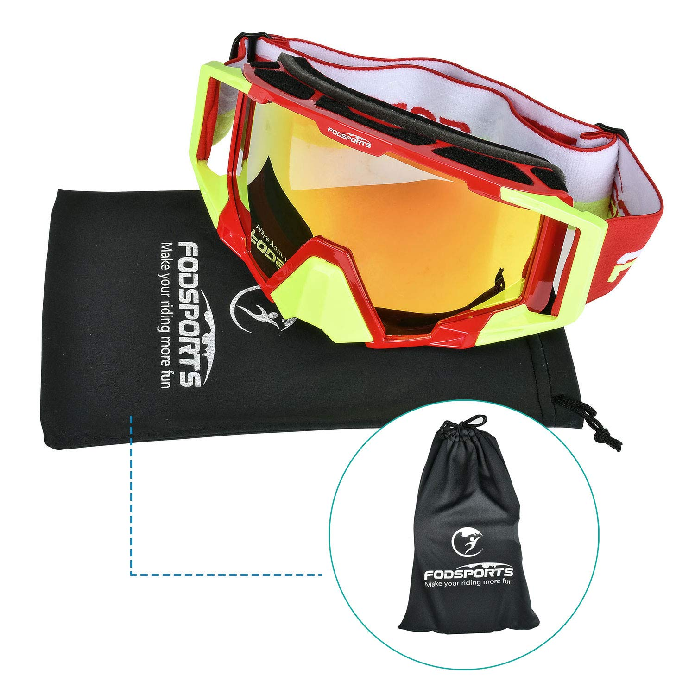 Fodsport Motorradbrille Crossed Brille Radbrille Schutzmaske f/ür Motorrad Motocross Ski Sport verstellbar XL QM00017A2