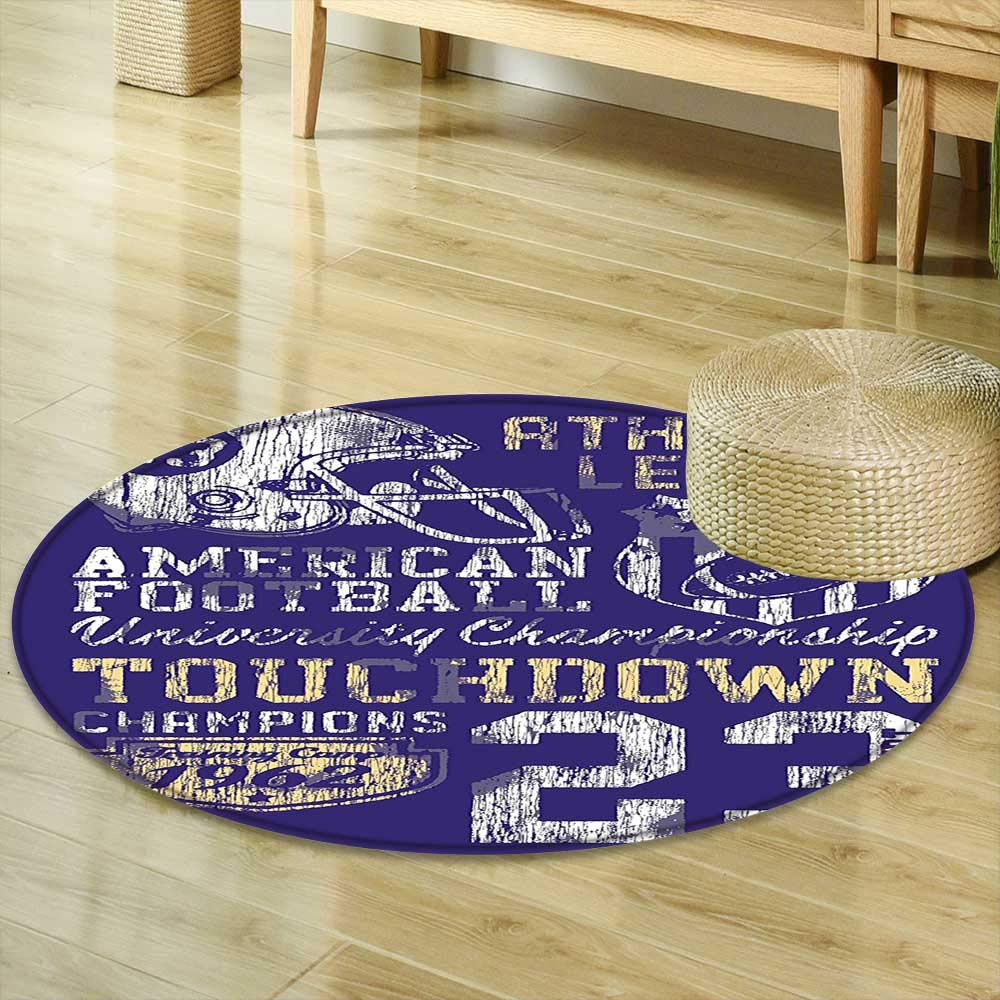 Mikihome Print Area Rug Sports Decor Retro American Football College Version Illustration Athletic Championship Apparel Blue White Yellow Perfect for Any Room, Floor Carpet R-35