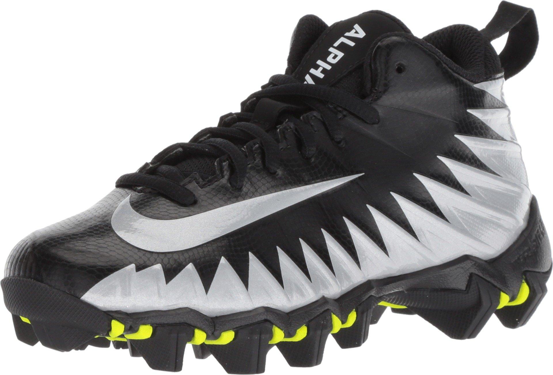 Nike Boy's Alpha Menace Shark (GS) Football Cleat Black/Metallic Silver/White Size 6 M US by Nike