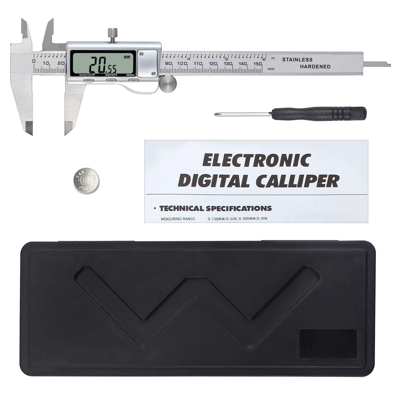 Neoteck 150mm/6Inch Stainless Steel Digital Vernier Caliper Electronic Caliper Fractions/Inch/Metric Conversion Measuring Tool for Length Width Depth Inner Diameter Outer Diameter
