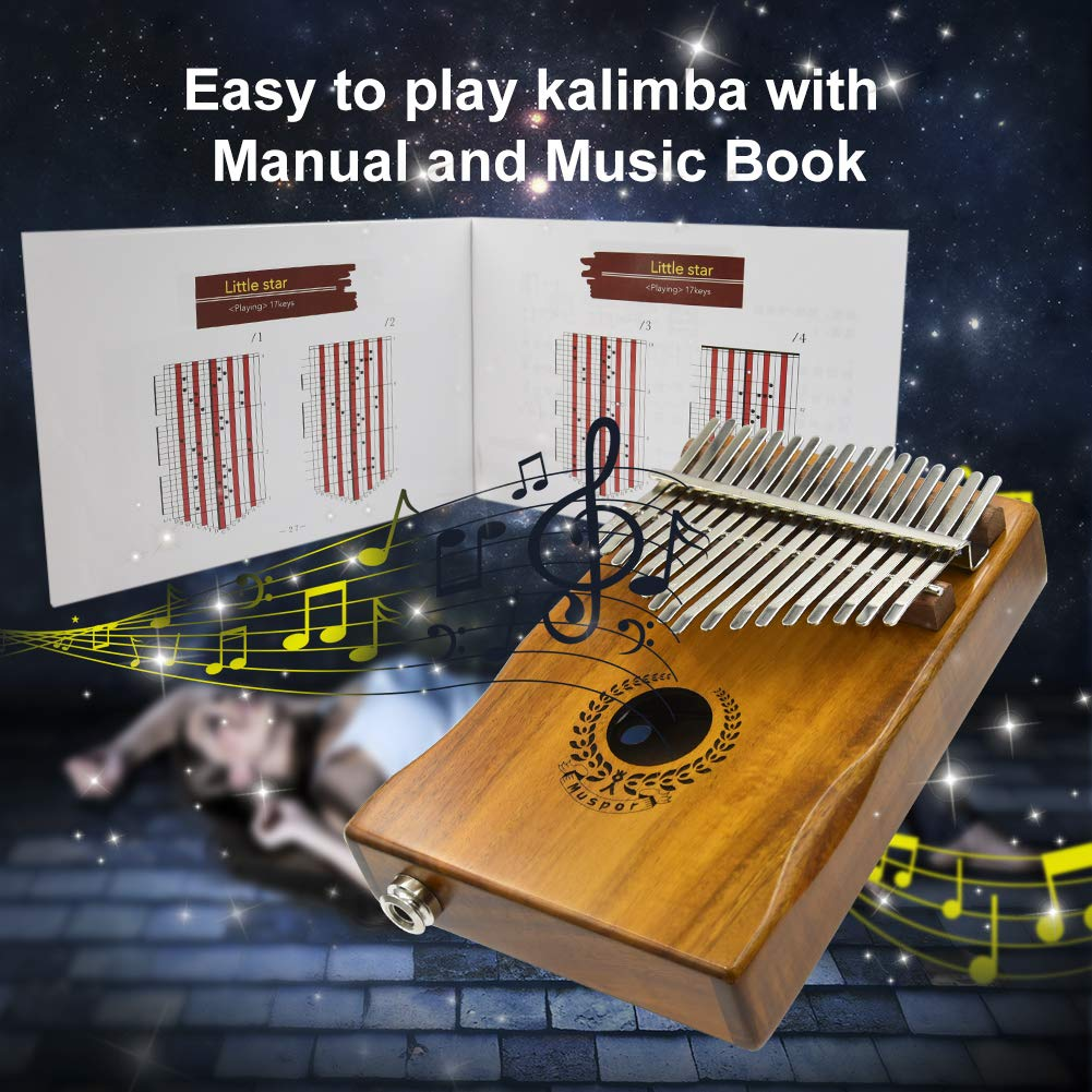 17 Keys Kalimba EQ Thumb Piano Electric Finger Piano Mbira Solid Acacia Wood with Calibrating Tune Hammer and Carry Box, Built-in Pickup and 6.35mm Interface, Perfect Gift for Musical Lovers By VOSTOR by VOSTOR (Image #3)