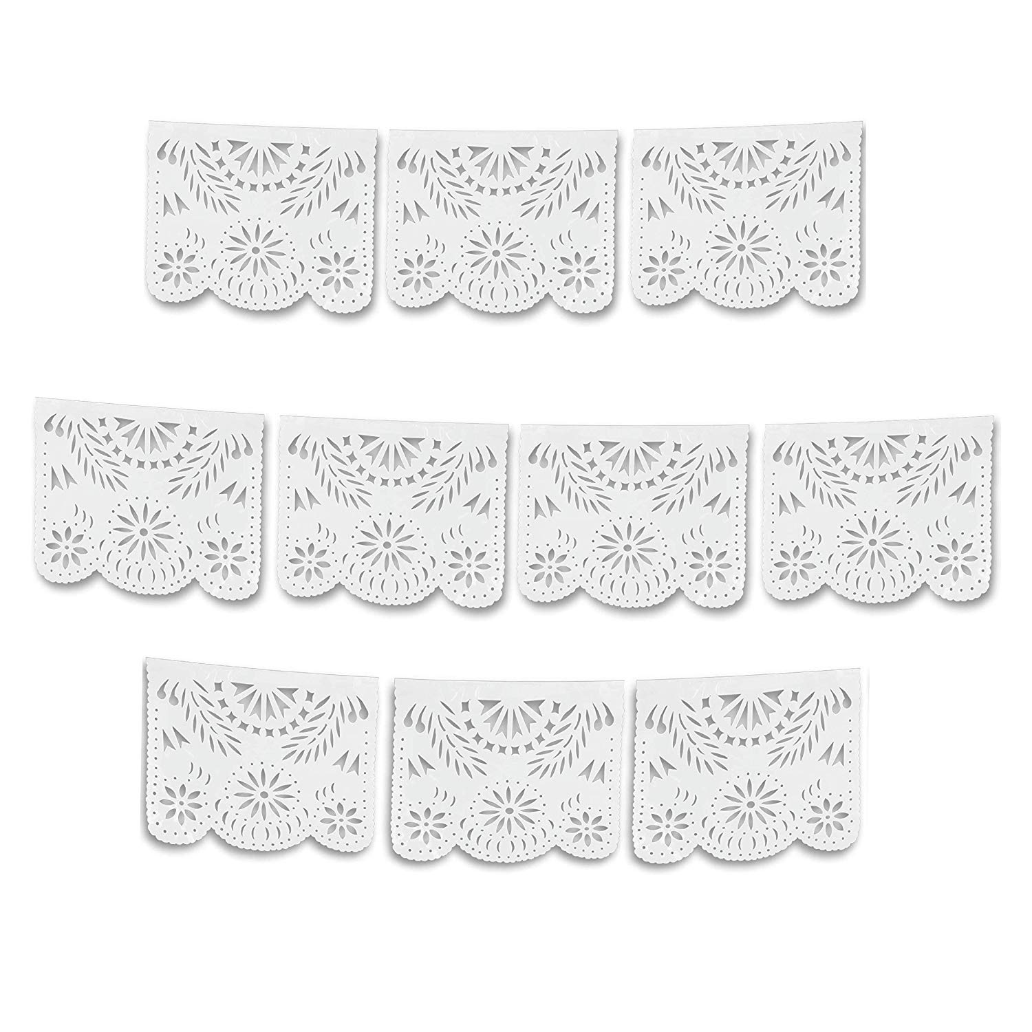 White Papel Picado Banner 10 Pack