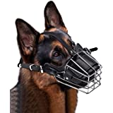 Lmlly Dog Muzzle, Adjustable Metal Mask for Anti-Bite Wire Leather Strong Basket Breathable Safety Protection Cover for Medium/Large Pets