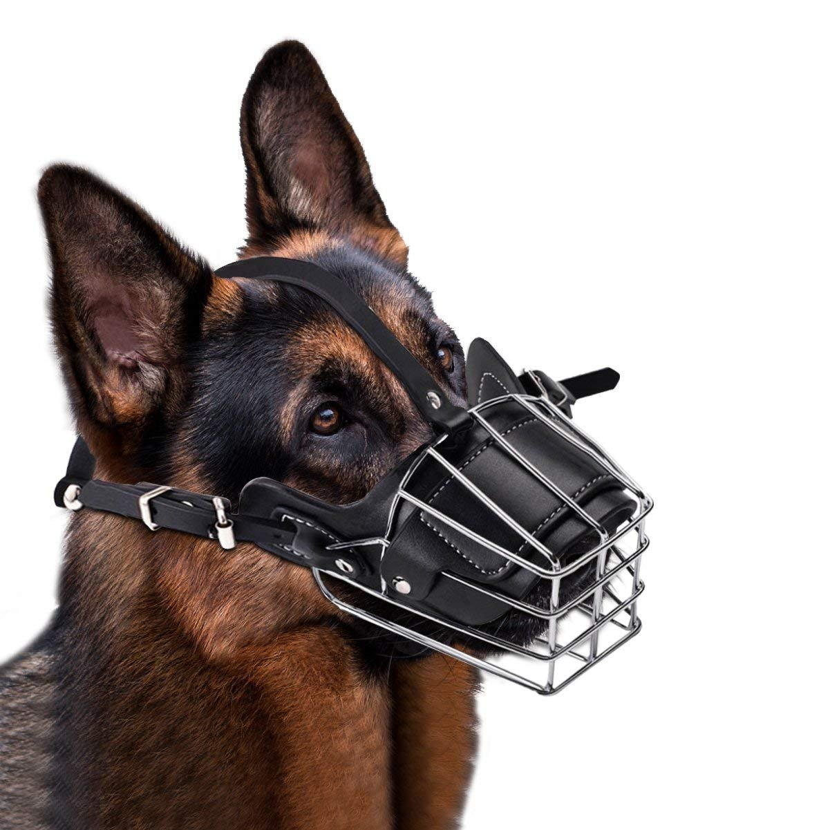 Lmlly Dog Muzzle, Adjustable Metal Mask for Anti-Bite Wire Leather Strong Basket Breathable Safety Protection Cover for Medium/Large Pets(Black,L)